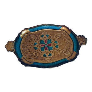 1960s Gilt Wood and Turquoise Lacquer Florentine Serving Tray For Sale