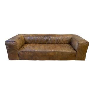 Restoration Hardware Fulham Leather Sofa For Sale