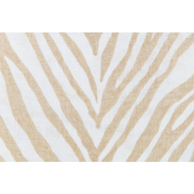 Traditional Caramel Linen Zebra Pillows, a Pair For Sale - Image 3 of 4