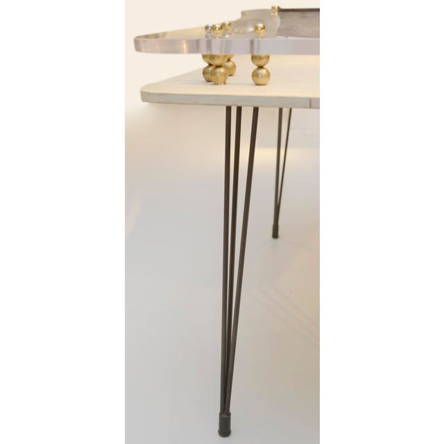 1950s Parchment Covered and Perspex 1950's Desk For Sale - Image 5 of 9