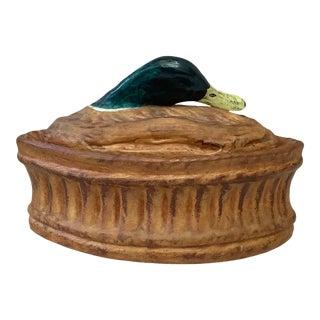 Antique French Trompe l'Oeil Porcelain Mallard Duck Pâté Tureen Pillivuyt Mehun For Sale