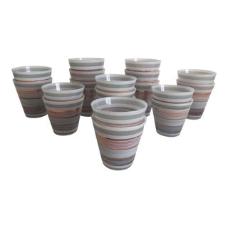 Vintage Mid-Century Modern Frosted Striped Tumbler Glasses - Set of 20 For Sale