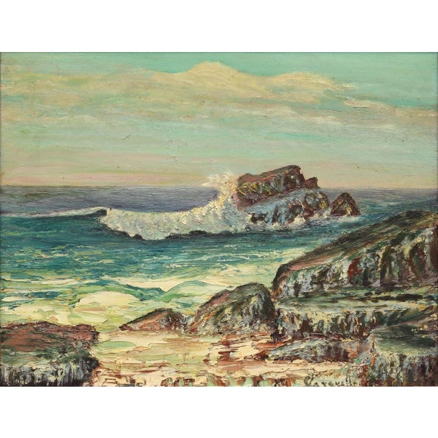 Blue Framed Rocky Beach Seascape Oil Painting, Signed For Sale - Image 8 of 12