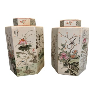 Chinese Porcelain Jars With Lids - a Pair For Sale