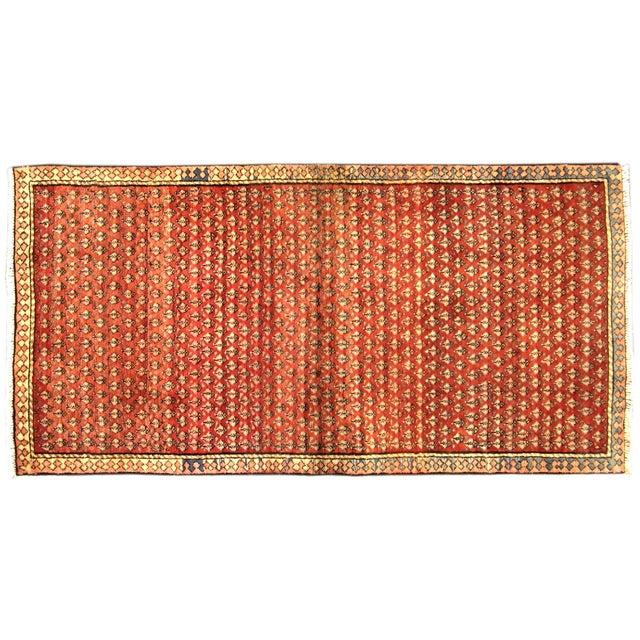 "Vintage Red & Orange Persian Rug - 3'6"" X 6'10"" - Image 1 of 4"