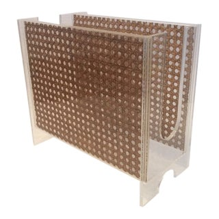 1970s Vintage Italian Rattan and Lucite Magazine Rack For Sale