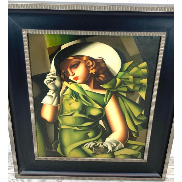 Art Deco Young Lady With Gloves, After Tamara De Lempicka For Sale - Image 3 of 10
