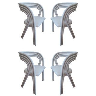 White Painted Dutch Bentwood Armchairs by Jan Des Bouvrie for Rohé Noor - Set of 4 For Sale