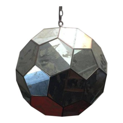 Mid-Century Mirrored Hexagon Hanging Lamp For Sale