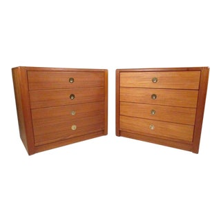 Scandinavian Modern Teak Campaign Dressers by D-Scan - a Pair For Sale
