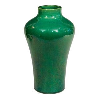 Antique 1910s Awaji Art Nouveau Studio Pottery Meiping Organic Green Monochrome Vase For Sale