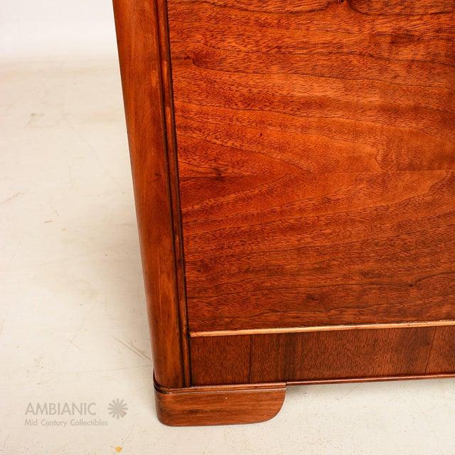 Art Deco Style Full Size Bed, Walnut Wood - Image 7 of 8