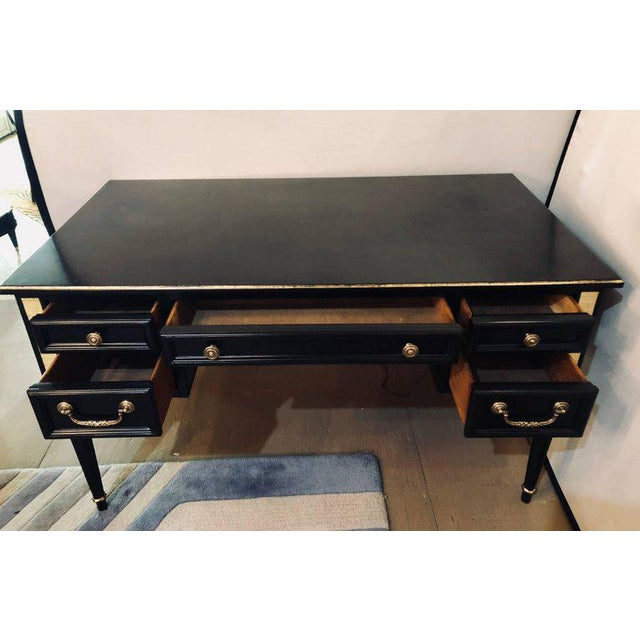 Louis XVI Style Bronze-Mounted Ebony Writing Desk or Vanity in Jansen Manner For Sale - Image 9 of 12