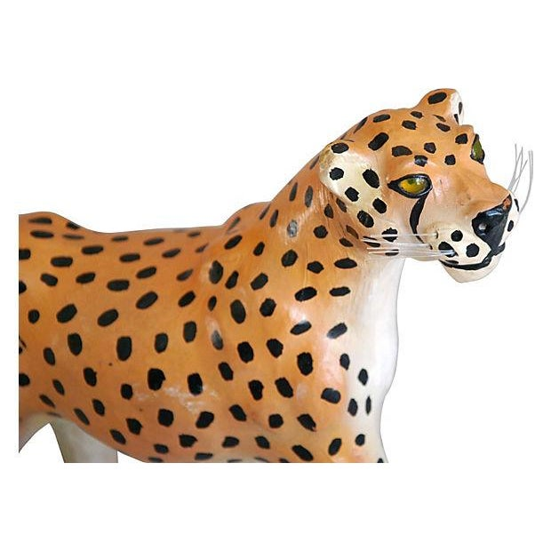 1970s Hand-Painted Leather Cheetah Figurine - Image 3 of 4