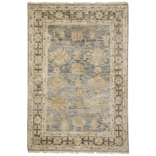 Contemporary Turkish Oushak Transitional Style Rug - 4′2″ × 6′ For Sale