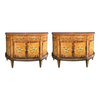 Baltic Neoclassical Style Marquetry Inlaid Birch and Walnut Demilune Cabinets - a Pair For Sale