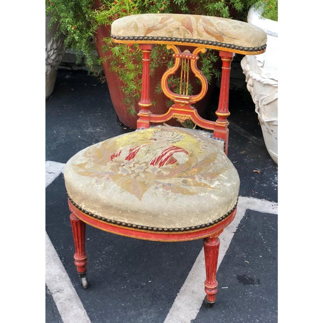 French Provincial Superb Antique Vatican Red Prie-Dieu Petit Point Chair For Sale - Image 3 of 4