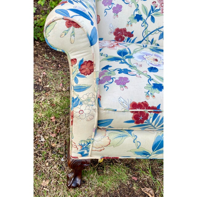 Wood Large Scale English Wingback Chair in Peony Chintz For Sale - Image 7 of 13