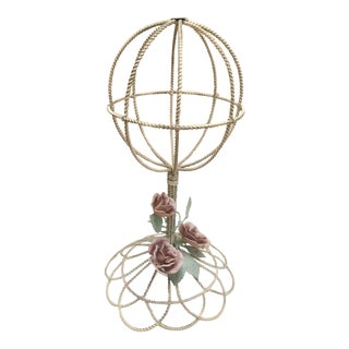 Vintage French Tole Rose Wire Hatstand For Sale