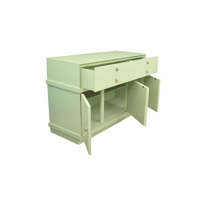 Contemporary 1950's Mid Century Modern Basic-Witz Green China Cabinet For Sale - Image 3 of 8
