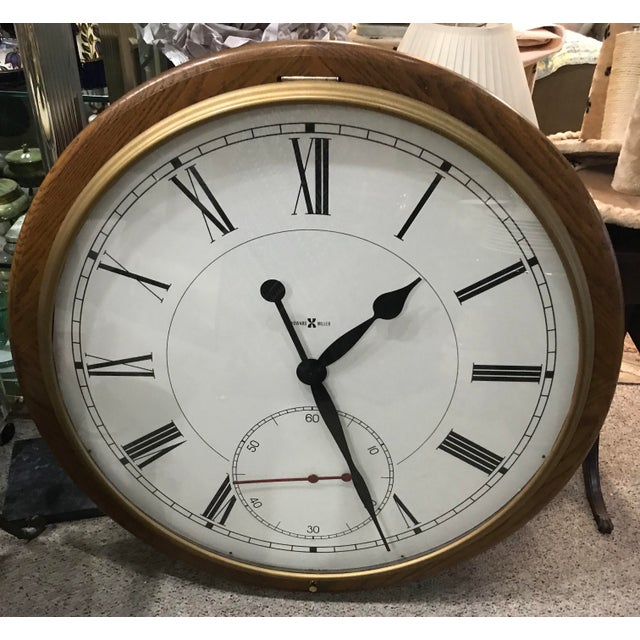 """Massive, 42"""" diameter gallery wall clock finished in Oak Yorkshire on select hardwoods and veneers. Gold finished hinged..."""