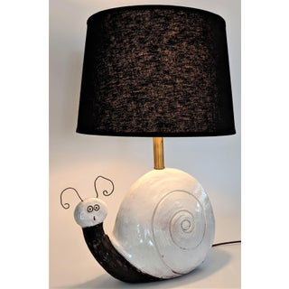 1960s Mid Century Pottery Snail Table Lamp by Raymor Italy Preview