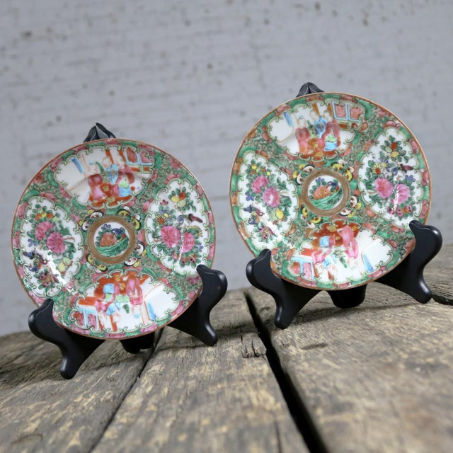 Ceramic Antique Chinese Qing Rose Medallion Porcelain 6 Inch Plates Set of 4 For Sale - Image 7 of 13