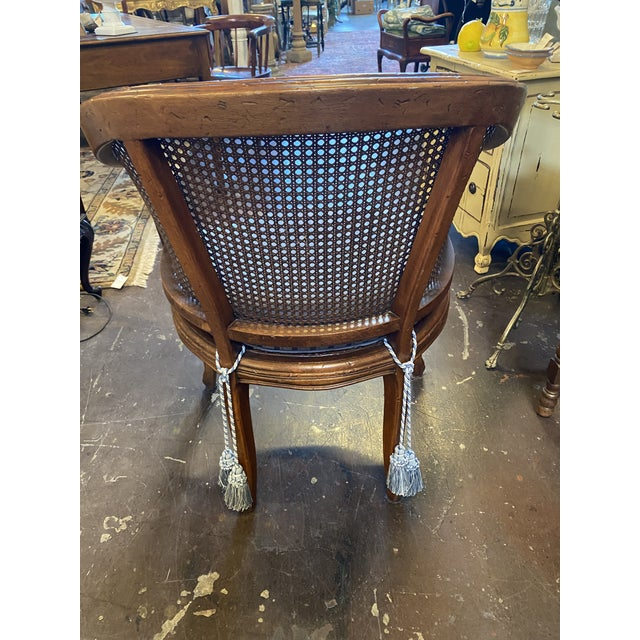 French Hekman Sweet French Cane Chair With Pad For Sale - Image 3 of 4