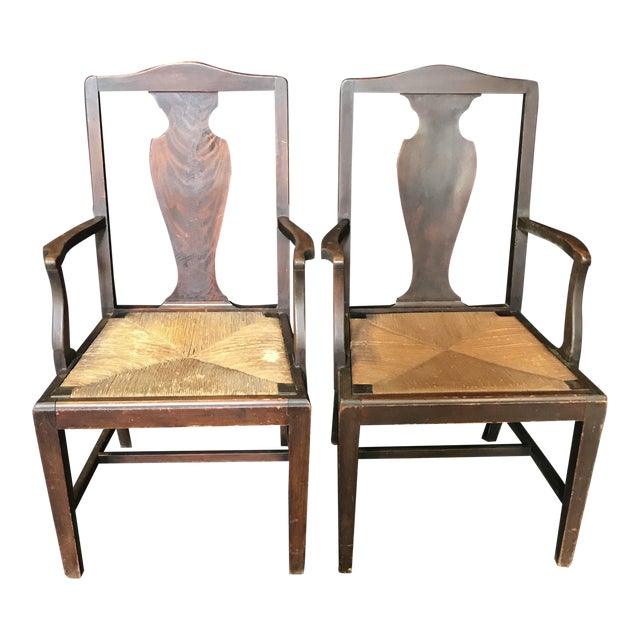 Period British Chippendale Armchairs With Rush Seats -A Pair For Sale