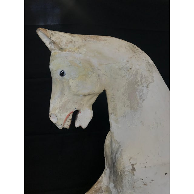 White Mid 19th Century British Carved and Painted Wood Merry-Go-Round Carousel Horse For Sale - Image 8 of 13