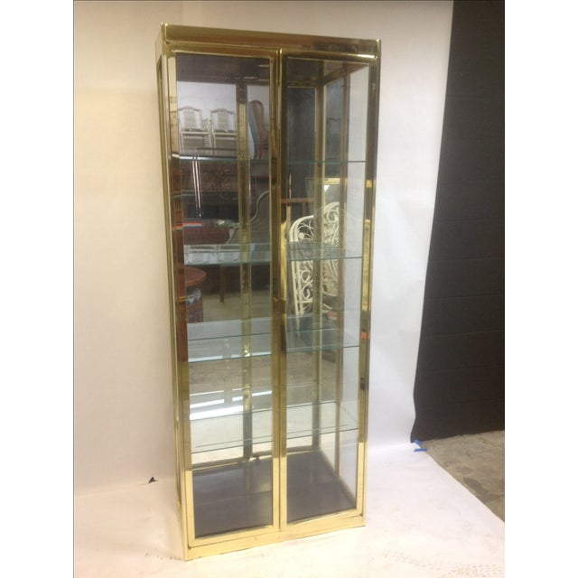 1980's Style Brass and Glass Cabinet - Image 3 of 8