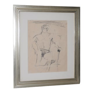 Larry Rivers (1923-2002) Modernist Male Figure Original Charcoal Mid 20th C. For Sale