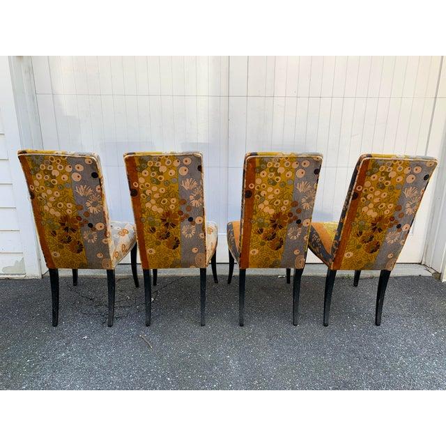 Mid-Century Modern Jack Lenor Larsen Velvet Dining Chairs - Set of 4 For Sale - Image 3 of 12