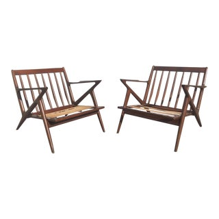 1950's Mid Century Modern Selig Poul Jensen Sculptural Z Lounge Chairs - a Pair For Sale