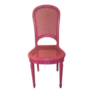 Louis XVI Style Cane Back and Seat Accent Chair For Sale