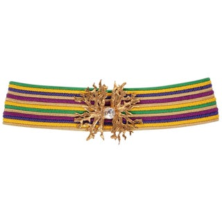 1980s Yves Saint Laurent Vintage Ysl Multicolored Passementerie Gold Belt For Sale