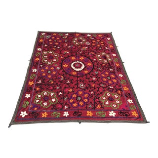 Wine Red Suzani Fabric For Sale