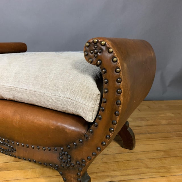 1930s 1930s Otto Schulz Leather & Grainsack Footstool, Boet, Sweden For Sale - Image 5 of 11