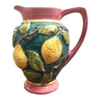 Vintage Mid-Century Portuguese Ceramic Lemon Pitcher For Sale
