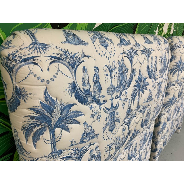 1980s Twin Size Chinoiserie Style Upholstered Headboards For Sale - Image 5 of 7