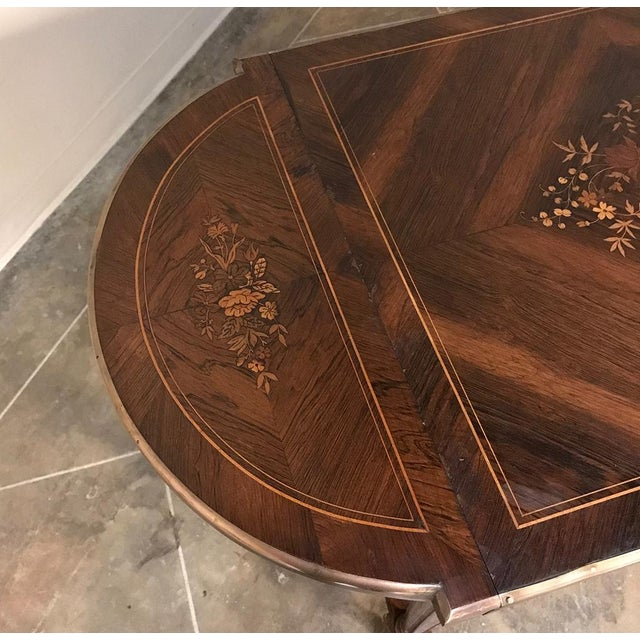 19th Century French Napoleon III Marquetry Rosewood Dropleaf Writing Table For Sale In Dallas - Image 6 of 13