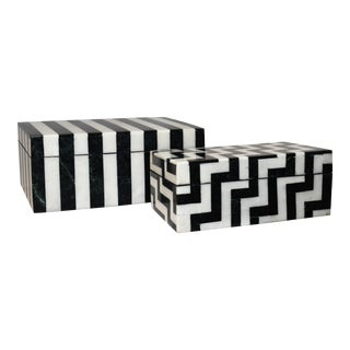 Made Goods Escher Black and White Mismatched Boxes - a Pair For Sale