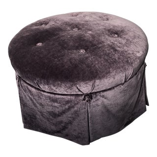 Custom Tufted Ottoman, in Aubergine Velvet For Sale