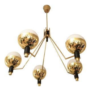 1960s Five Arm Chandelier Attributed to Stilnovo, Italy For Sale