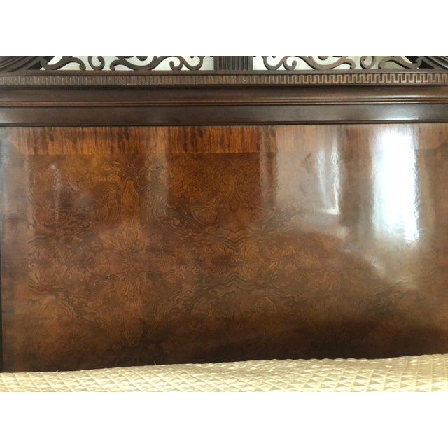 Brown Century Furniture Tradtional Mahogany Headboard With Burl Inlay For Sale - Image 8 of 9