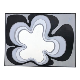 Oversized Vintage Black and White Op Art Painting For Sale