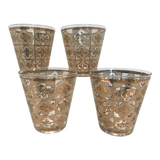 1950s Hollywood Regency Beige and Gold Clover Pattern Whisky Cocktail Bar Drinking Glasses - Set of 4