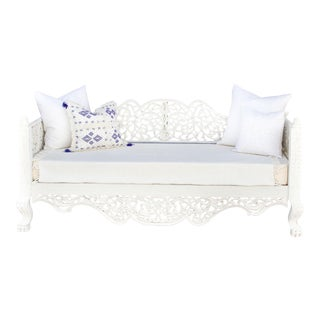 White Carved Anglo Indian Daybed For Sale