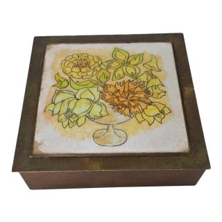 1980s Boho Chic Copper Box With Yellow Floral Enamel Top For Sale