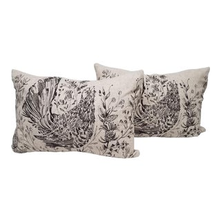 Bird Bolster Pillows - A Pair For Sale